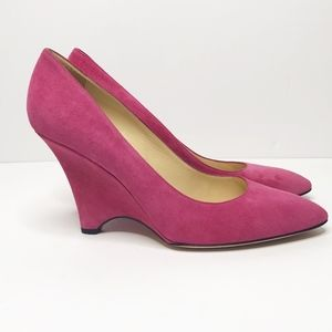 Kate Spade Deb Fuchsia Suede Pointed-toe Wedges